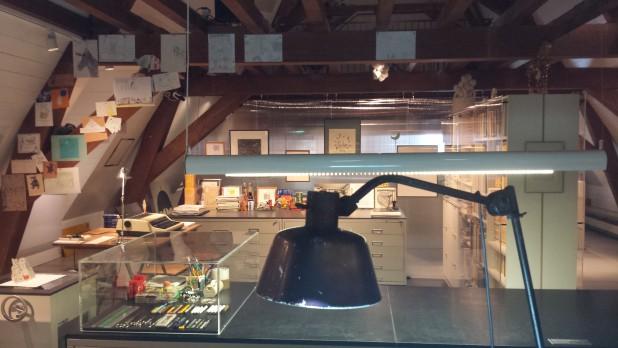 Het atelier van Dick Bruna, nagebouwd in het Centraal Museum. Foto: Evert-Jan Pol.