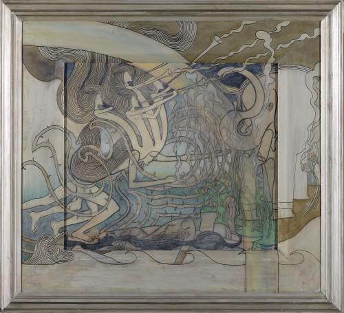 Jan Toorop, Lijnenspel, de komst van de nieuwe kunst, 1893, zwart en gekleurd krijt, kleurpotlood en pastel op papier, collectie Gemeentemuseum Den Haag.