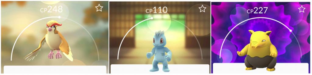 Drie Pokémon: Pidgeot; Machop en Drowzee.