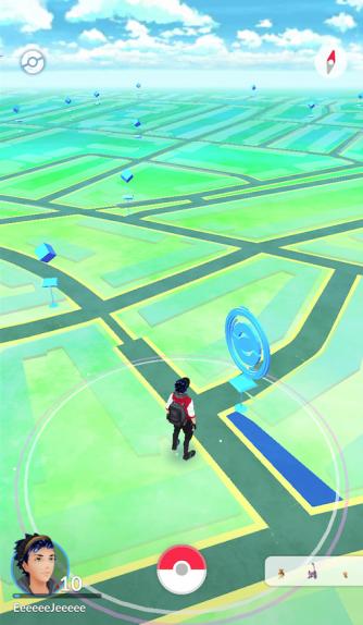 De avatar in het speelveld.